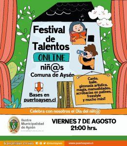 Municipio de Aysén invita a niños y niñas de la comuna a ser parte de su primer festival online de Talentos