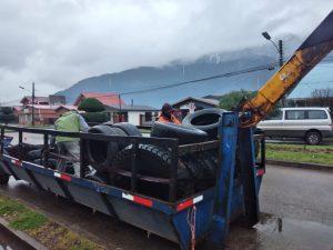 Exitosamente se llevó a cabo campaña de recolección de neumáticos fuera de uso en Puerto Aysén